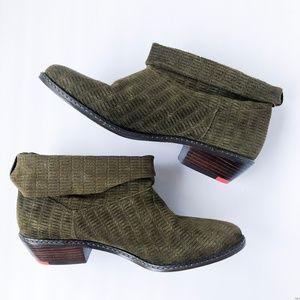 Joe's Jeans Olive Green Star II Suede Ankle Bootie